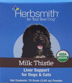 Milk thistle will simply flush out toxinsfrom your dog;s liver, so he or she is not being affected as much as it was before ingesting this herbal remedy. It also helps with Cushing's disease in dogs, that gives many of the same symptoms as other digestive disorders. Available at www.carolesdoggieworld.com