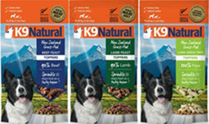 Made fresh in New Zealand from high quality meat, these high protein, freeze dried, grain free toppers are available from www.carolesdoggieworld.com featuring 90-100% raw meat.