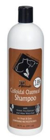 A penetrating shampoo from www.carolesdoggie world.com that contains 3.8% Colloidal Oatmeal. Ideal for itching, dryness, scaling and certain types of dermatitis.