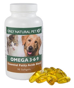 Essential Fatty Acids, Omega 3,6,9 available from www.carolesdoggieworld.com - an advanced multi-fatty acid supplement for dogs in soft gel capsules with a blend of natural fish, borage, and flaxseed oils.