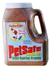 Red cedar granules will repel insects including fleas, chiggers, bull gnats, mosquitoes, horseflies, ants, and biting scorpions. Available from www.carolesdoggieworld.com